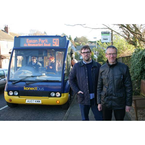 Cllrs James Wright and Brian Watkins with the Konectbus 50 service
